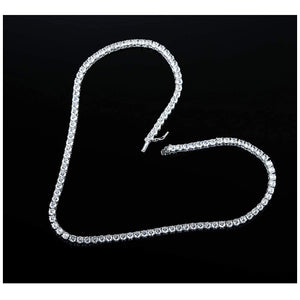 18K White Gold Plated 3mm Round Cubic Zirconia Classic Tennis Necklace