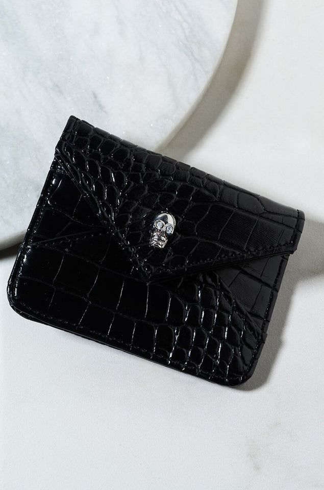 Skull + Croc skin envelope wallet (vegan leather)