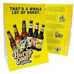 Six Bottle Logo Table Tent Horny Goat Beer