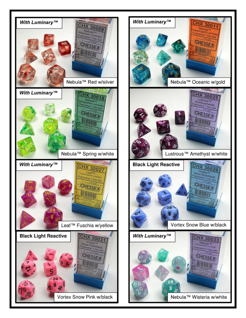 Exciting New Designs for Chessex Lab Dice, Round #2