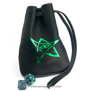 New: Cthulhu Elder Sign Leather Dice Bags