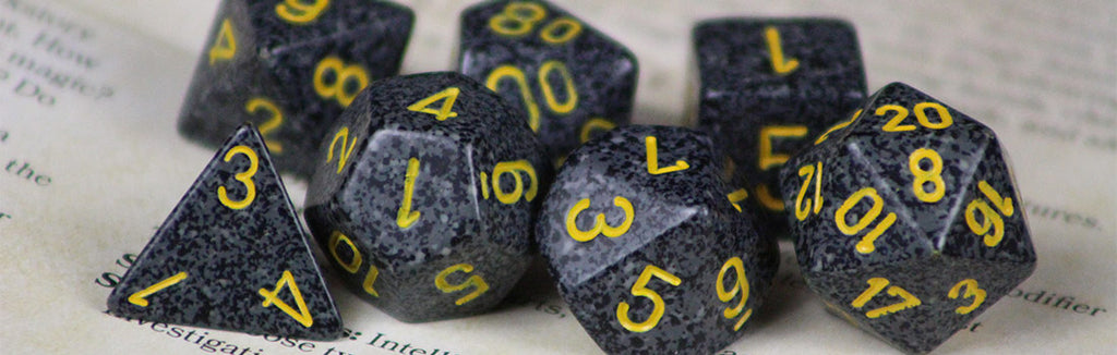 Black Speckled Dice with Yellow Ink