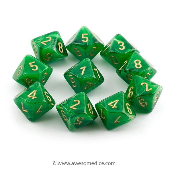 Vortex Green 10d10 Dice Set