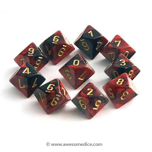 Gemini Red-Black 10d10 Dice Set