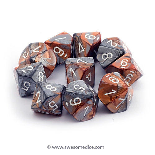 Gemini Copper-Steel 10d10 Dice Set