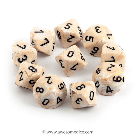 Marble Ivory 10d10 Dice Set