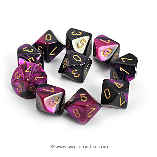 Gemini Black-Purple 10d10 Dice Set