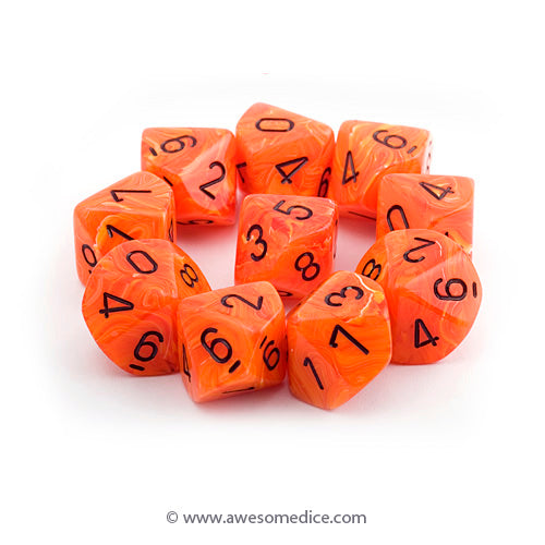 Vortex Orange 10d10 Dice Set