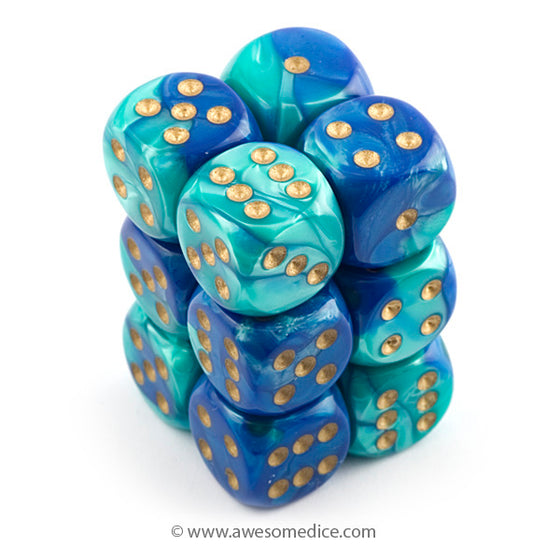 Gemini Blue-Teal 12d6 Dice Set