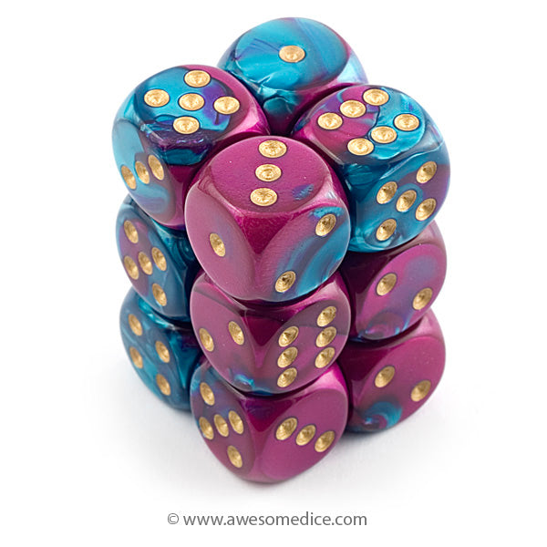 Gemini Purple-Teal 12d6 Dice Set