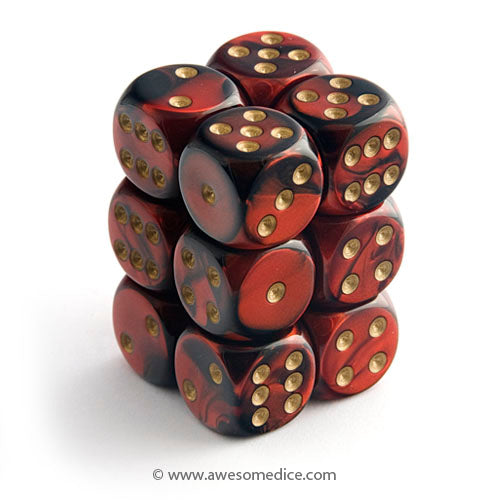 Gemini Red-Black 12d6 Dice Set