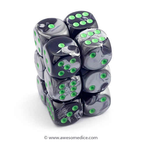 Gemini Black-Grey 12d6 Dice Set