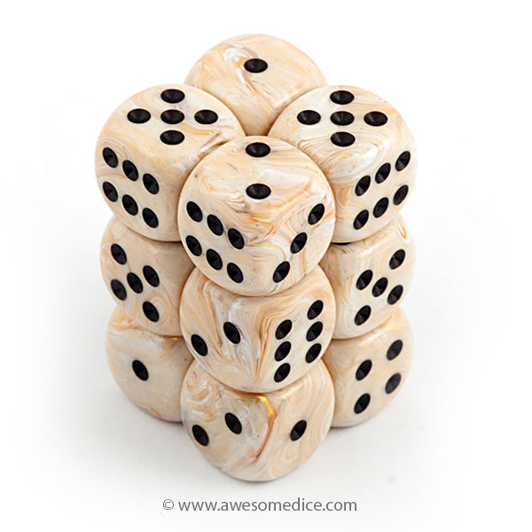 Marble Ivory 12d6 Dice Set