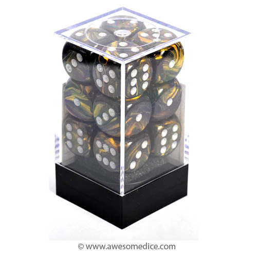 Leaf Black Gold 12d6 Dice Set