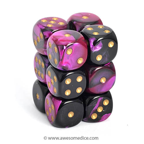 Gemini Black-Purple 12d6 Dice Set