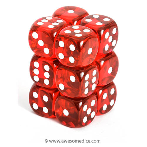 Translucent Red 12d6 Dice Set
