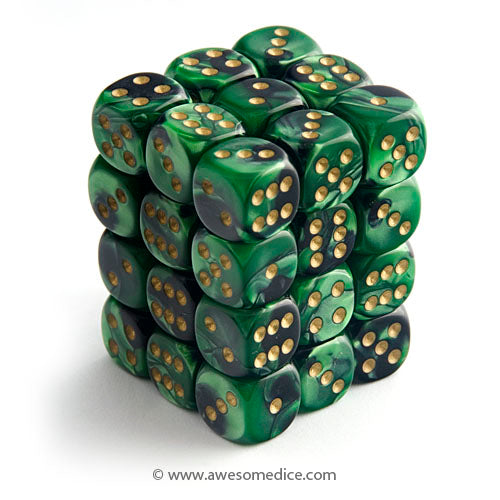 Gemini Black-Green 36d6 Dice Set