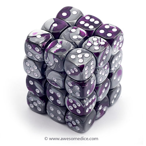 Gemini Purple-Steel 36d6 Dice Cube