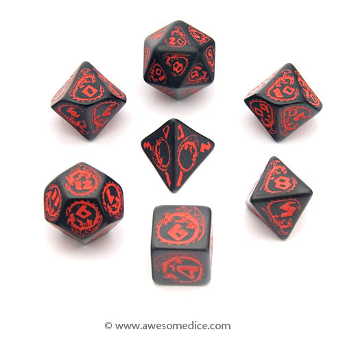 Dragons Black & Red 7-Dice Set