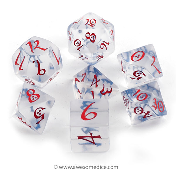 Translucent Red and Blue 7-Dice Set