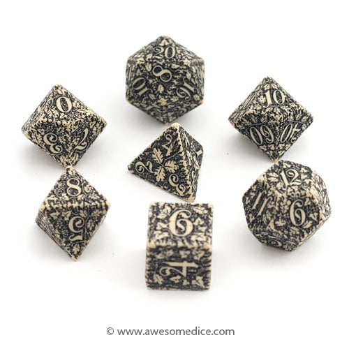 Beige Forest 7-Dice Set