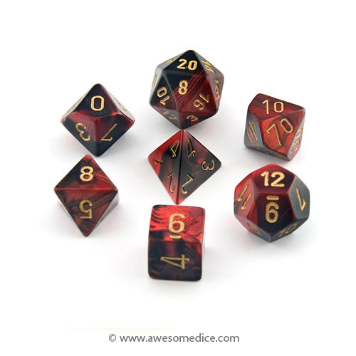 Gemini Red-Black 7-Dice Set