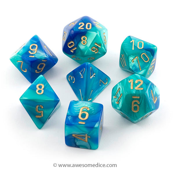 Gemini Blue-Teal 7-Dice Set