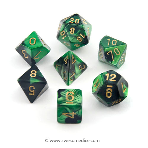 Gemini Black-Green 7-Dice Set