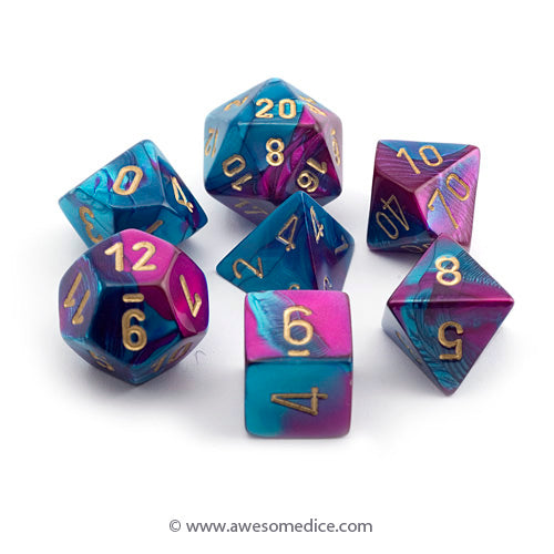 Gemini Purple-Teal 7-Dice Set
