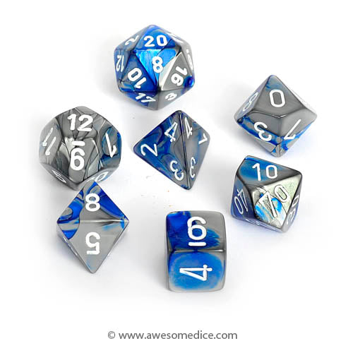Gemini Blue-Steel 7-Dice Set