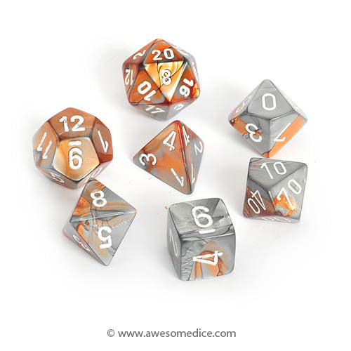 Gemini Copper-Steel 7-Dice Set