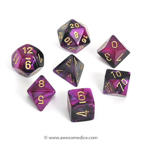 Gemini Black-Purple 7-Dice Set
