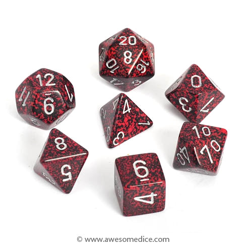 Speckled Silver Volcano 7-Dice Set