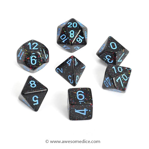 Speckled Blue Stars 7-Dice Set