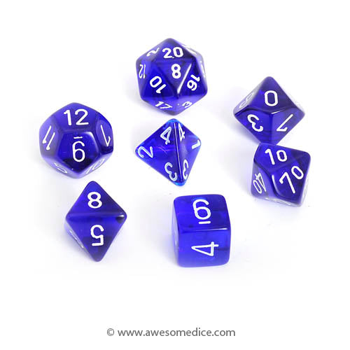 Translucent Blue 7-Dice Set