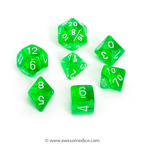 Translucent Green 7-Dice Set