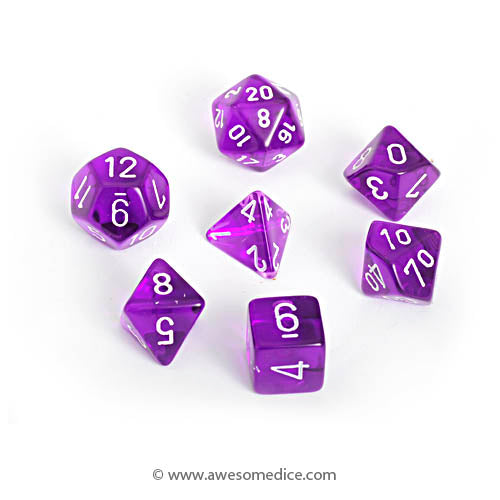 Translucent Purple 7-Dice Set