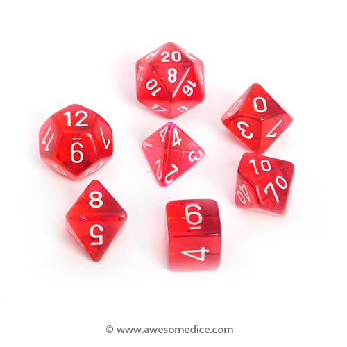 Translucent Red 7-Dice Set