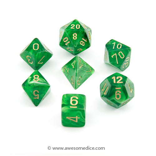 Vortex Green 7-Dice Set