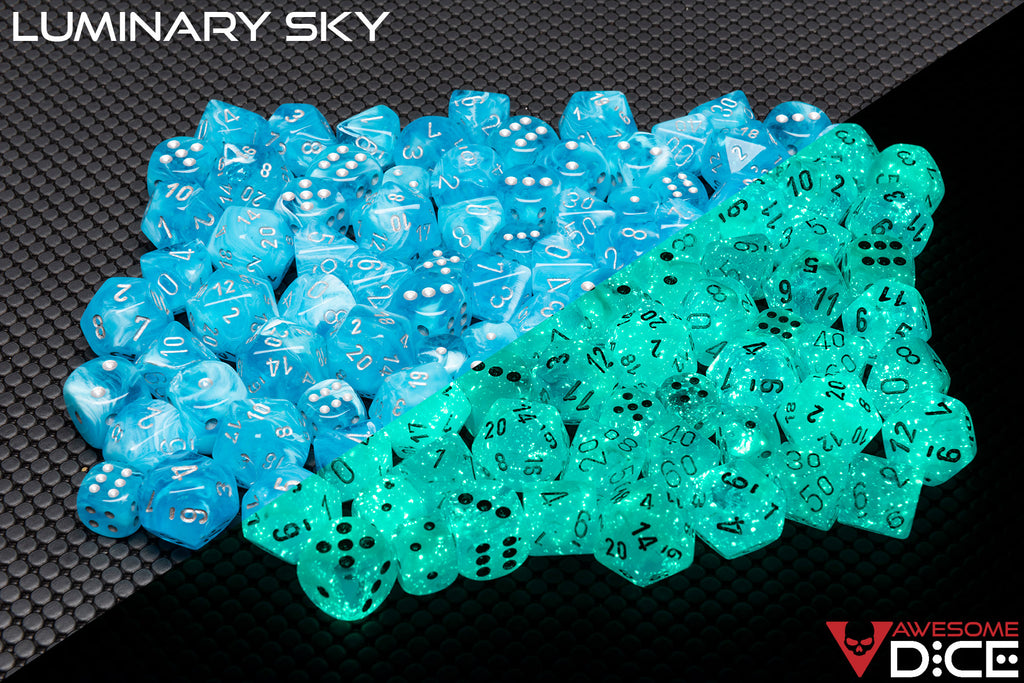 Preorder Now: Luminary Sky Glow in the Dark 7-Dice Set