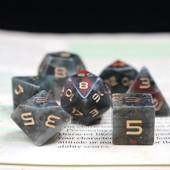 Bloodstone Gemstone 7-Dice Set