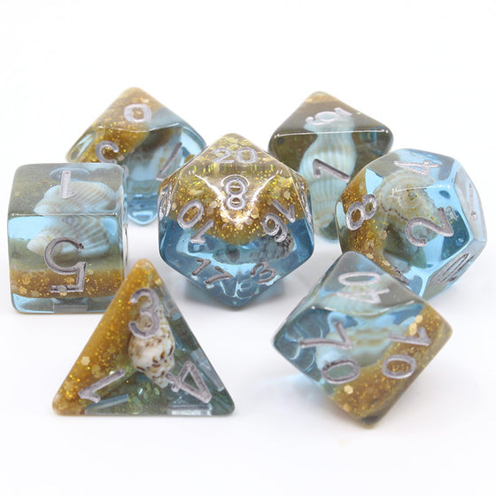 Blue Beach 7-Dice Set