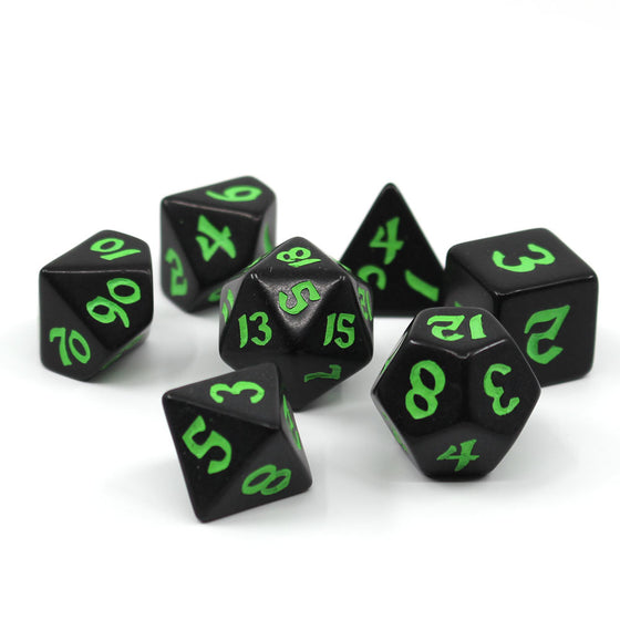 Classic Runic Black & Green 7-Dice Set
