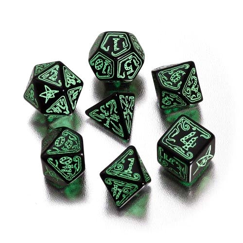 Cthulhu Black-Green 7-Dice Set