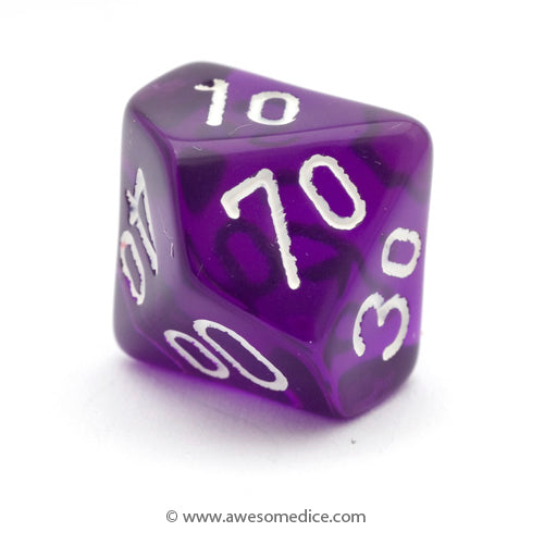 Single Translucent Purple d10 Percentile