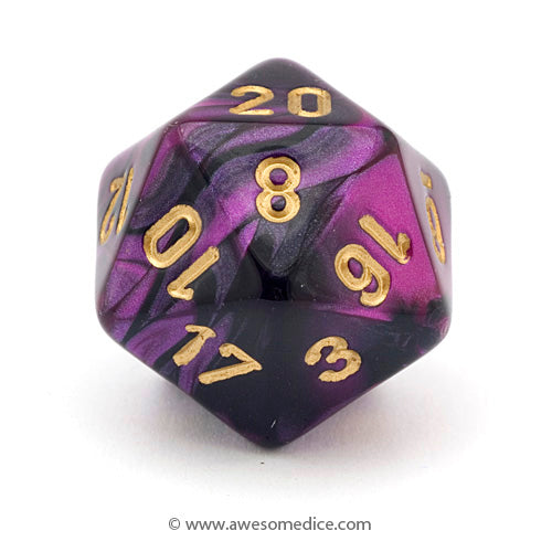 Single Gemini Black-Purple d20