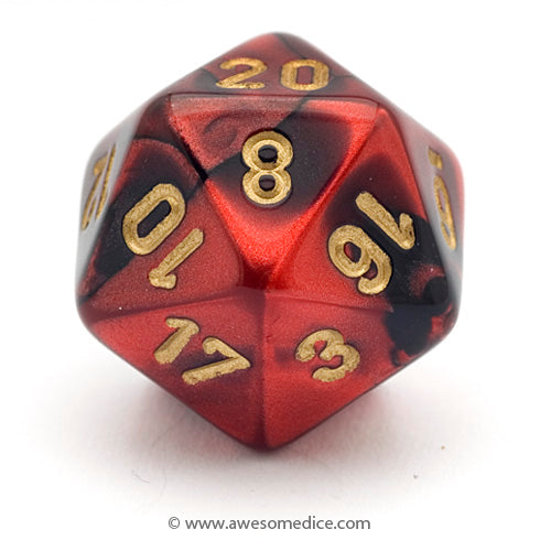 Single Gemini Red-Black d20