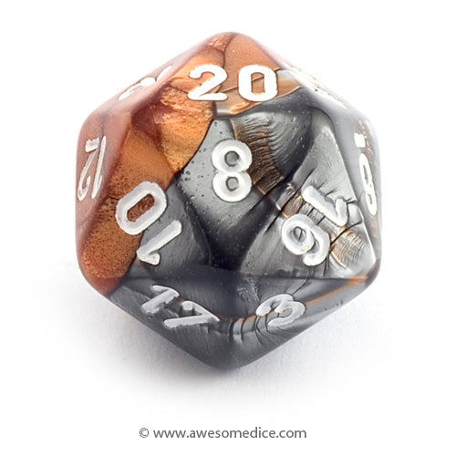 Single Gemini Copper-Steel d20