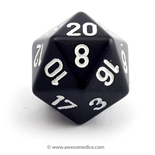 Single Opaque Black d20