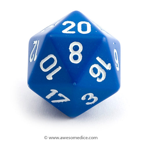 Single Opaque Blue d20